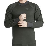 Jumper Wool Original with round neck green melange
